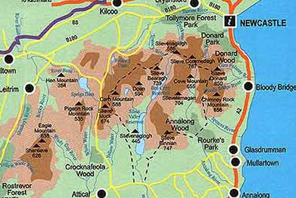 Mourne Mountains Map Mourne Wall   walking round the Mourne Mountains   map Mourne Mountains Map